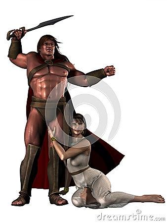 Fantasy barbarian warrior with female companion