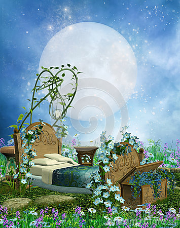 Fantasy bed and moon