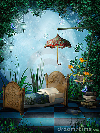 Fantasy bedroom with lamps