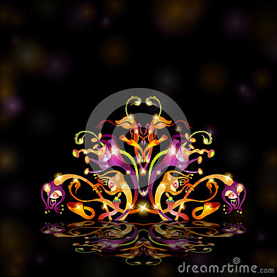 Fantasy black bright background space