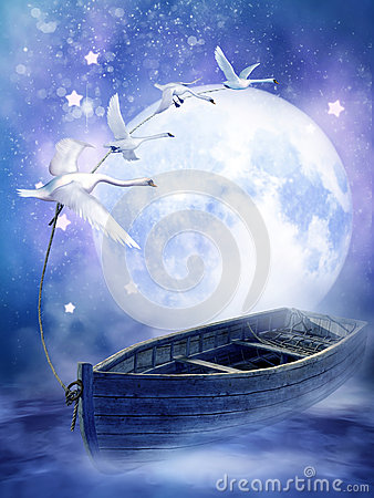 Fantasy boat with swans