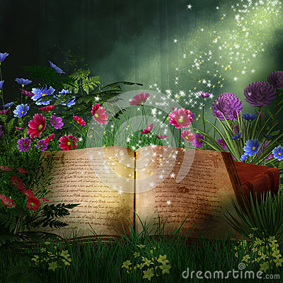 Fantasy book in a forest at night