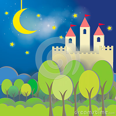 Fantasy Castle card in midnight background