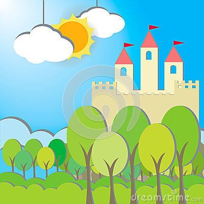 Fantasy Castle card in morning background