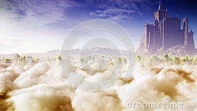 Fantasy Castle In The Clouds Stock Photo