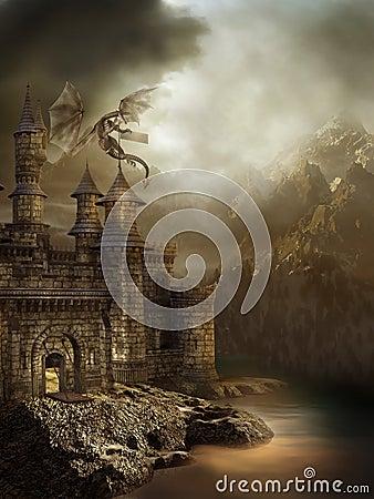 Fantasy castle with a dragon Stock Photo