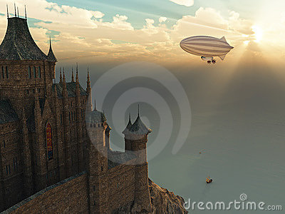 Fantasy castle and flying zeppelin at sunset