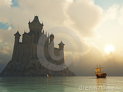 Fantasy castle at sunset