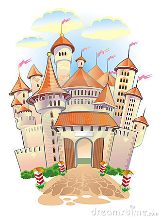 Fantasy castle with towers and flags