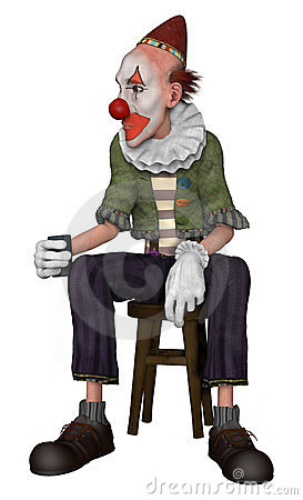 Fantasy clown sitting on a stool
