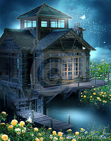 Fantasy cottage with roses