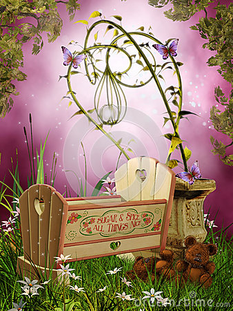 Fantasy cradle with butterflies