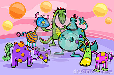 Fantasy creatures group cartoon illustration