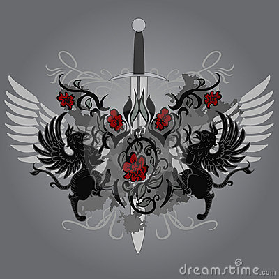 Fantasy design with gryphon, roses and sword