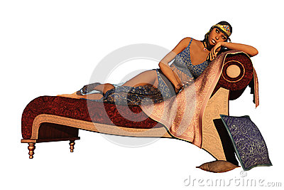 Fantasy exotic queen reclining on couch