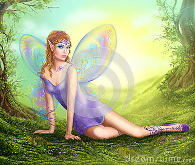 Fantasy fairy butterfly sits on grass in wood. Stock Photo