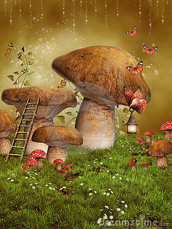 Fantasy fairy mushrooms