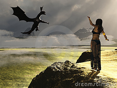 Fantasy female summoning dragon