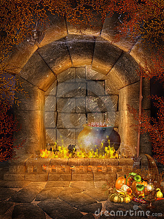 Fantasy fireplace with bats