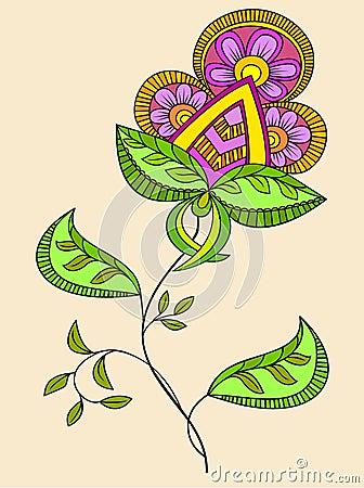 Fantasy flower Cartoon Illustration