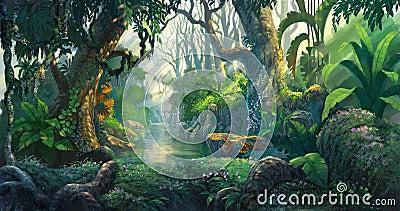 Fantasy forest Cartoon Illustration