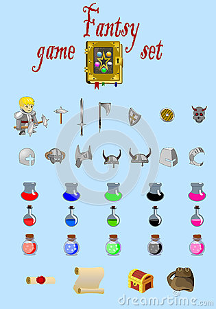Fantasy game set vector