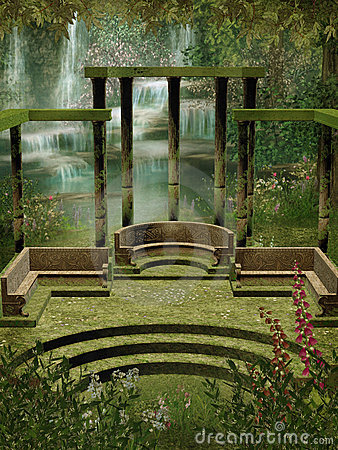Fantasy garden with columns