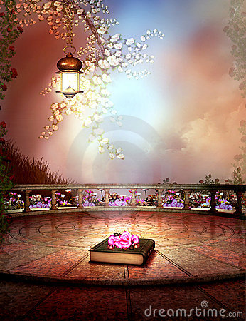 Fantasy garden with a rose flower book