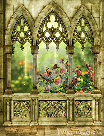 Fantasy Garden With Roses Stock Illustration Image 44540062