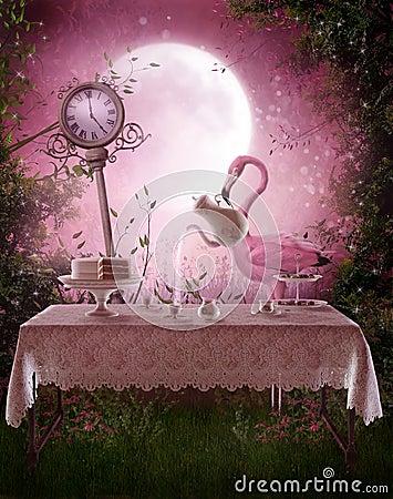 Free Fantasy Garden With A Flamingo Royalty Free Stock Photos - 19806238
