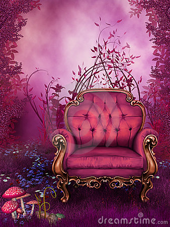 Free Fantasy Garden With A Pink Chair Stock Photography - 16288792