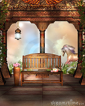 Fantasy Garden with a wooden bench and horse