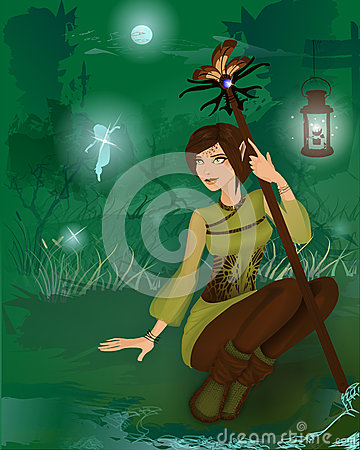 Fantasy girl in night forest with little fairies