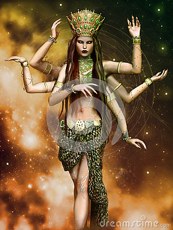 Fantasy Goddess With Six Arms Stock Illustration Image 44051715