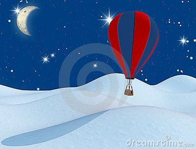 Fantasy hot-air balloon and the moon