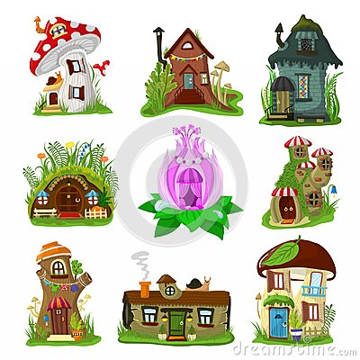 Fantasy house vector cartoon fairy treehouse and magic housing village illustration set of kids fairytale playhouse for Vector Illustration