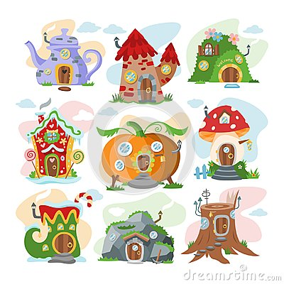 Fantasy house vector cartoon fairy treehouse and magic housing village illustration set of kids fairytale pumpkin or Vector Illustration