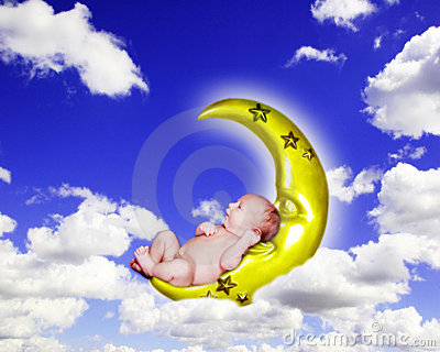 Fantasy Infant Portrait on Crescent Moon in Cloudy Sky