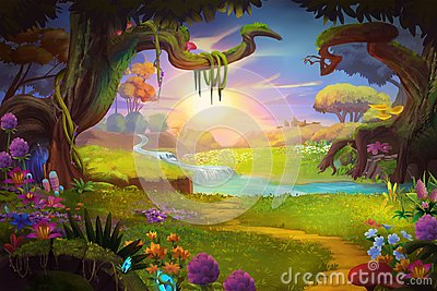 Fantasy land, Grass and Hill, River and Tree with Fantastic, Realistic Style Stock Photo