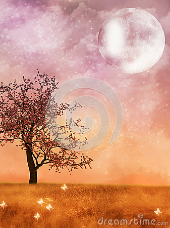 Fantasy Landscape with moon Stock Photo