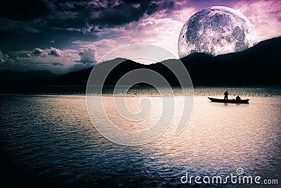 Fantasy landscape - moon, lake and boat Stock Photo