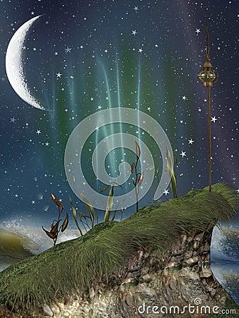 Fantasy landscape in the nigth