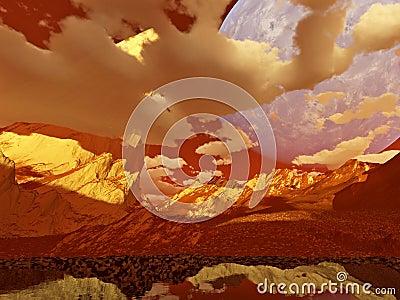 Fantasy landscape (red)