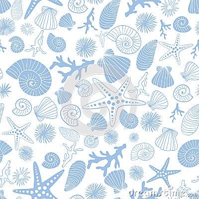 Fantasy maritime seamless pattern