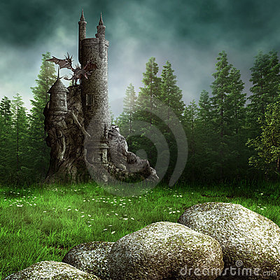 Free Fantasy Meadow With A Tower Stock Photography - 20599452