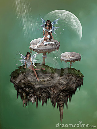 Fantasy Mushroom With Fairies Stock Photo Image 9445580