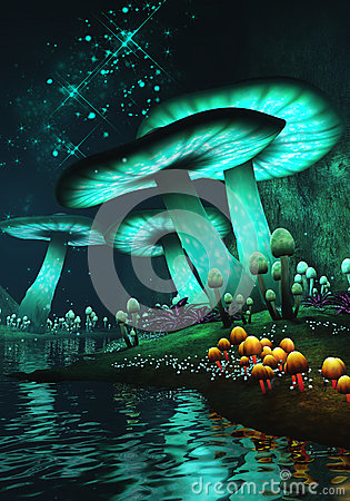 Fantasy Mushrooms Stock Illustration Image 43778715