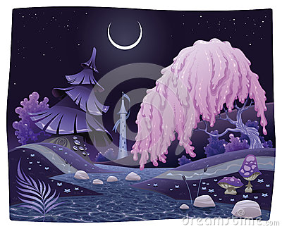 Fantasy nightly landscape on the riverside.