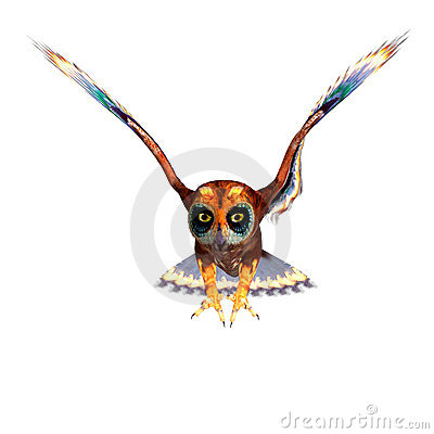 Free Fantasy Owl With Rainbow Colors. 3D Rendering Stock Photos - 14442013