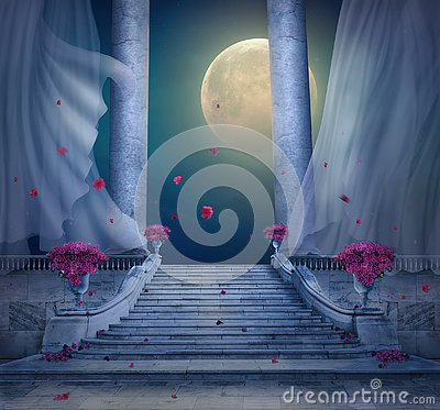 Free Fantasy Palace With Marble Stair At Night. 3D Rendering Royalty Free Stock Photos - 144225478